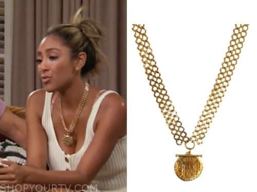 tayshia adams, the bachelorette, gold coin necklace