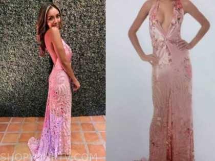 tayshia adams, the bachelorette, pink floral twist gown