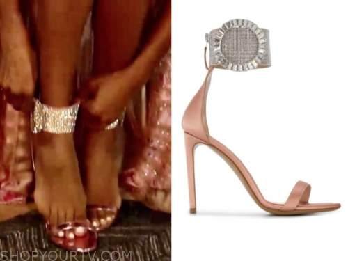 the bachelorette, tayshia adams, pink rhinestone ankle strap sandals