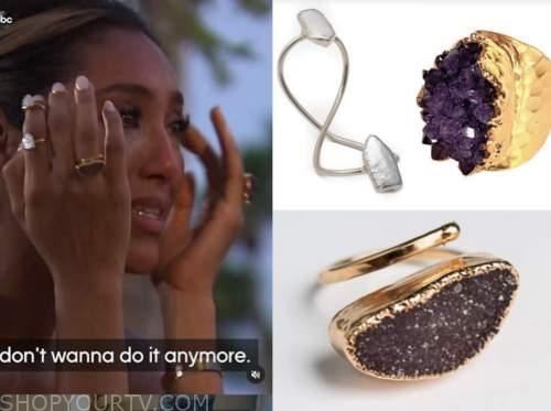 tayshia adams, the bachelorette, double ring, stone ring, purple ring