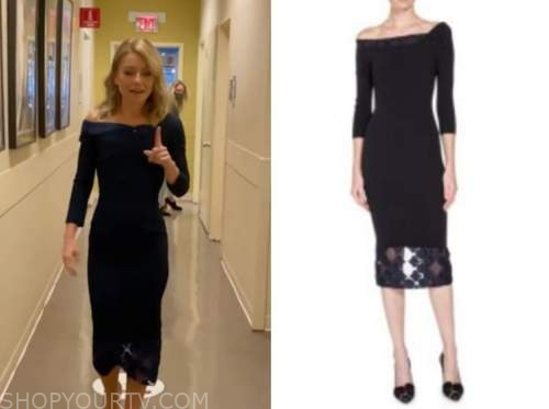kelly ripa, live with kelly and ryan, lace trim dress