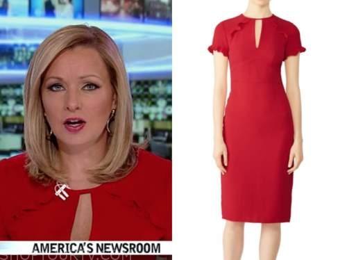 sandra smith, red ruffle keyhole dress, america's newsroom