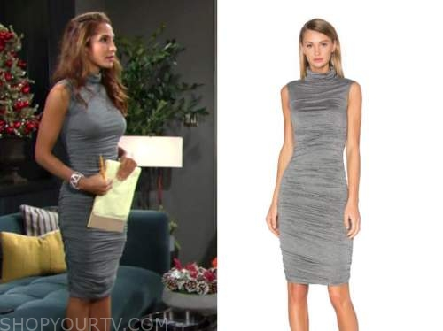 lily winters, grey turtleneck ruched sleeveless dress, christel khalil, the young and the restless