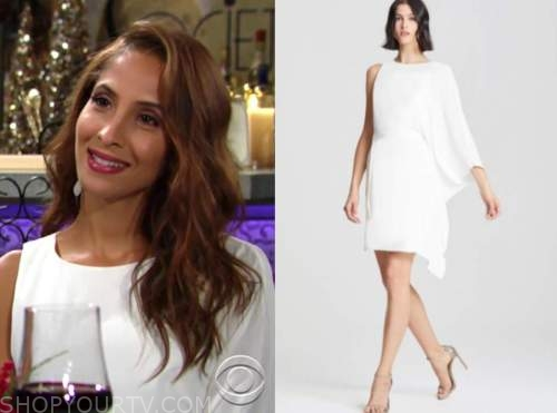 lily winters, white one-sleeve dress, the young and the restless, christel khalil
