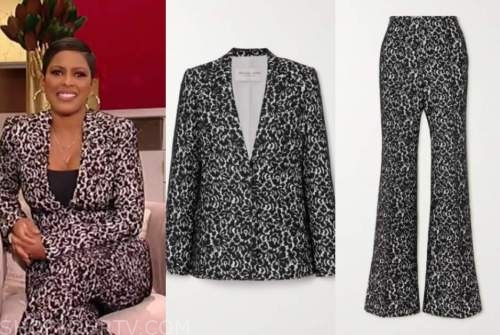 tamron hall, tamron hall show, black lace blazer and pant suit