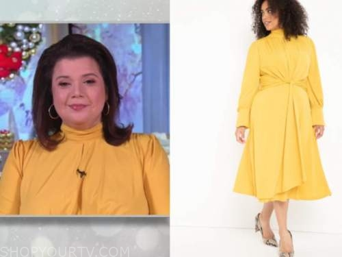 ana navarro, the view, yellow mock neck keyhole dress