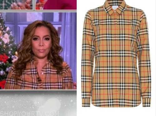 sunny hostin, the view, plaid check shirt