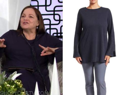 nina webster, tricia cast, studded sleeve sweater, the young and the restless
