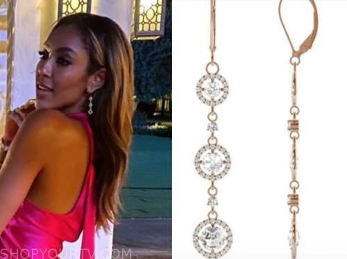tayshia adams, the bachelorette, diamond drop earrings