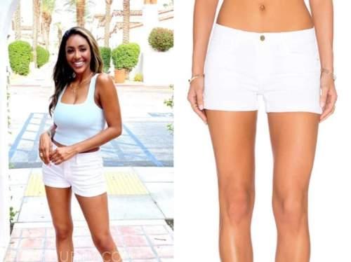 the bachelorette, tayshia adams, white denim shorts