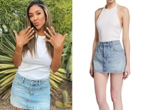 tayshia adams, the bachelorette, white tank top, denim skirt