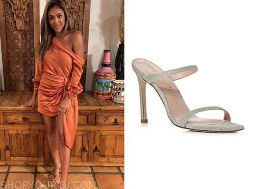 tayshia adams, the bachelorette ,orange dress, silver sandals