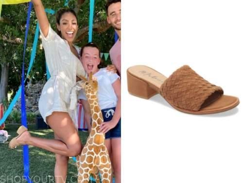 tayshia adams, the bachelorette, brown slide sandals