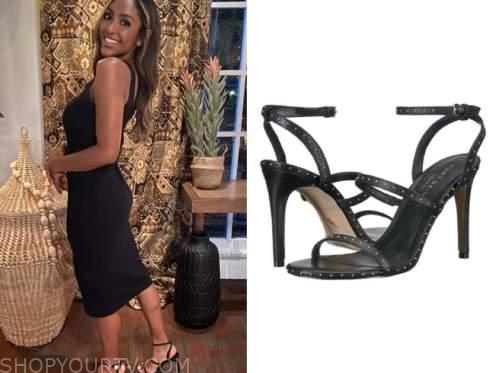 tayshia adams, the bachelorette, black studded sandals