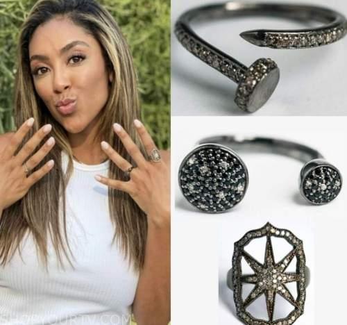 tayshia adams, the bachelorette, nail ring, double ring, star ring
