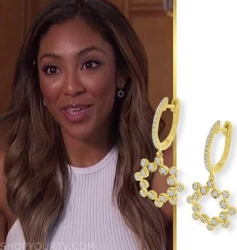 tayshia adams, the bachelorette, gold diamond drop earrings