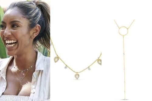 tayshia adams, the bachelorette, gold dangle necklace, gold lariat necklace