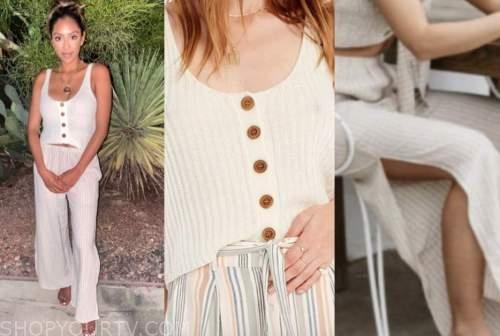 tayshia adams, the bachelorette, ivory knit top, striped pants