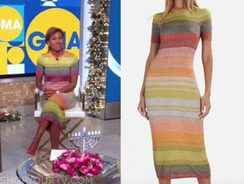 robin roberts, good morning america, striped knit colorblock midi dress