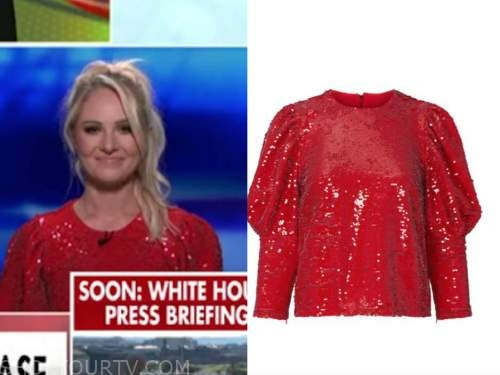 tomi lahren, red sequin puff sleeve top, outnumbered