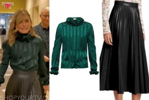 kelly ripa, live with kelly and ryan, green striped satin ruffle blouse, black leather pleated midi skirt