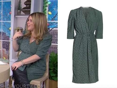 jenna bush hager, the today show, green mixed print wrap dress