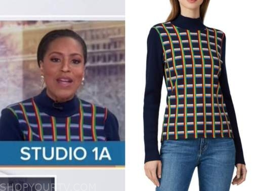 sheinelle jones, the today show, rainbow check turtleneck sweater