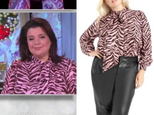 ana navarro, the view, pink zebra print tie neck blouse