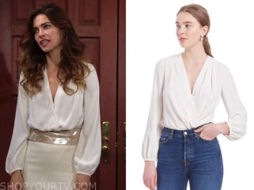 victoria newman, amelia heinle, the young and the restless, ivory blouse