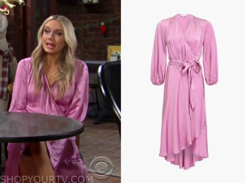 abby newman, melissa ordway, the young and the restless, pink satin wrap midi dress