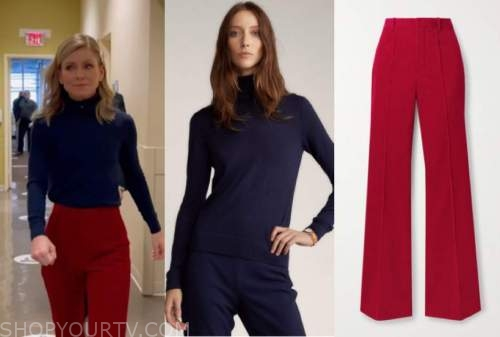 kelly ripa, live with kelly and ryan, blue turtleneck sweater, red pants
