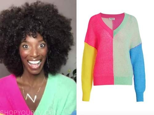 Zainab Johnson, colorblock sweater, drew barrymore show