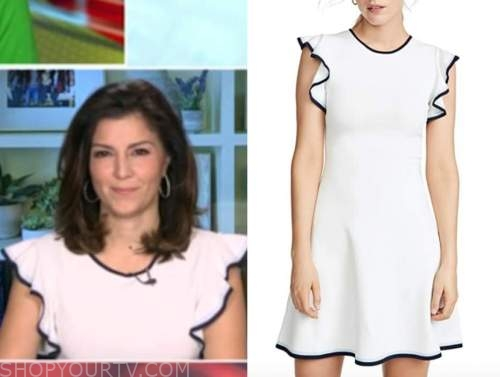 rachel campos duffy, outnumbered, white ruffle contrast trim dress