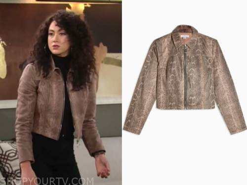 María DiDomenico, Alyssa Montalvo, the young and the restless, brown snakeskin jacket