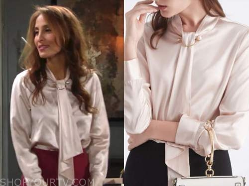 lily winters, christel khalil, the young and the restless, blush pink silk pearl blouse
