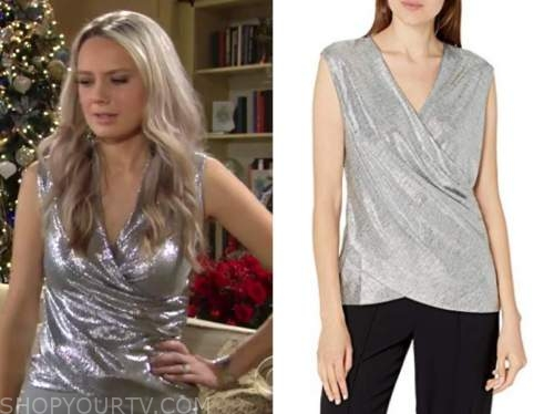 abby newman, melissa ordway, the young and the restless, metallic silver wrap top