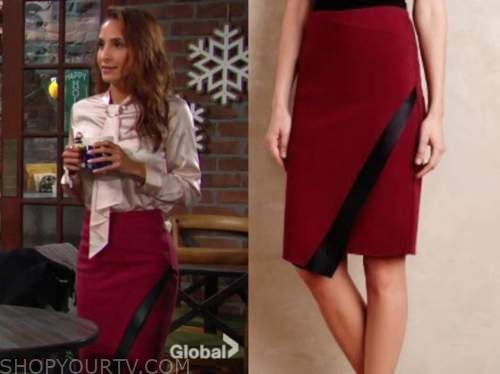 lily winters, christel khalil, the young and the restless, red and black wrap pencil skirt