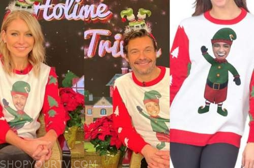 live with kelly and ryan, ryan seacrest, kelly ripa, elf customized christmas sweater