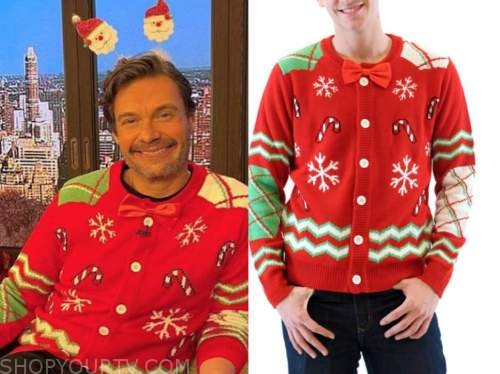 ryan seacrest, red bow tie christmas sweater, live with kelly and ryan