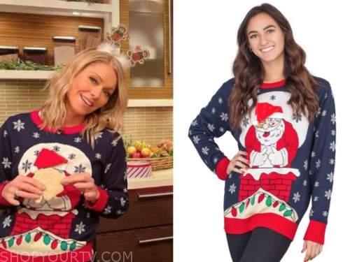 kelly ripa, santa christmas sweater, live with kelly and ryan