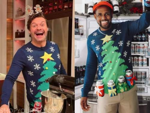 ryan seacrest, christmas tree beer holder sweater, live with kelly and ryan