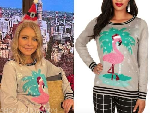 kelly ripa, live with kelly and ryan, sequin flamingo christmas sweater