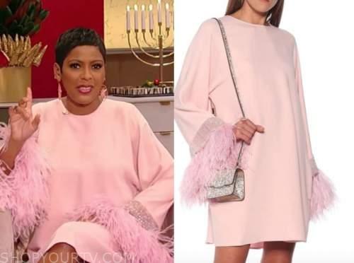 tamron hall, tamron hall show, pink feather shift dress