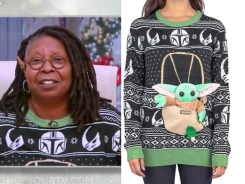 whoopi goldberg, the view, baby yoda christmas sweater