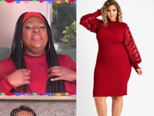 loni love, the real, red floral sleeve sweater dress