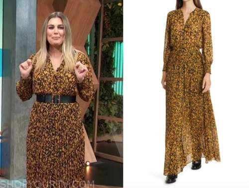 carissa culiner, E! news, daily pop, yellow and black printed pleated maxi dress