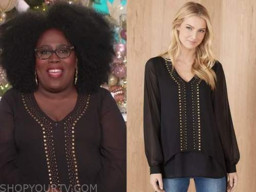 sheryl underwood, the talk, black studded blouse