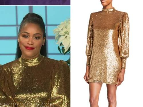 eve, the talk, gold sequin mock neck dress, eve's last show