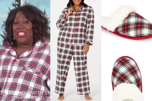 sheryl underwood, plaid pajamas, slippers, the talk