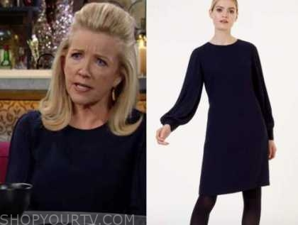 nikki newman, the young and the restless, melody thomas scott, navy shift dress